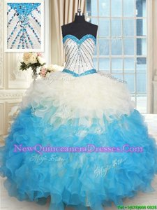 Sumptuous Blue and Champagne Sweetheart Lace Up Beading and Ruffles Sweet 16 Dresses Sleeveless