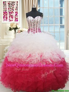 Cheap Sweetheart Sleeveless Organza Sweet 16 Quinceanera Dress Beading and Ruffles Lace Up