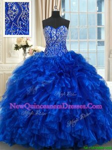 Hot Sale Brush Train Ball Gowns Ball Gown Prom Dress Royal Blue Sweetheart Organza Sleeveless With Train Lace Up