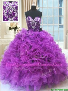 Eggplant Purple Sweetheart Lace Up Beading and Ruffles Sweet 16 Quinceanera Dress Sleeveless