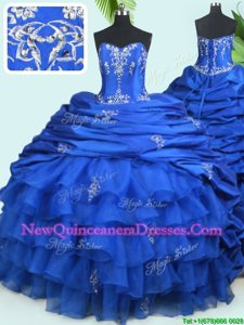 Deluxe Pick Ups Ruffled Sweetheart Sleeveless Court Train Lace Up Sweet 16 Dresses Royal Blue Organza and Taffeta