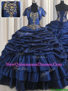 Sweet Navy Blue Ball Gowns Taffeta Sweetheart Sleeveless Embroidery and Pick Ups With Train Lace Up 15 Quinceanera Dress Court Train
