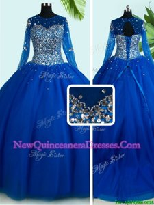 Free and Easy Scoop Royal Blue Long Sleeves Brush Train Beading With Train Quinceanera Gown