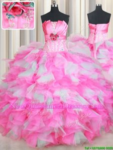 Eye-catching Pink And White Strapless Lace Up Beading and Ruffles and Hand Made Flower Quinceanera Gowns Sleeveless