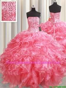 Attractive Strapless Sleeveless Lace Up Sweet 16 Dresses Pink Organza