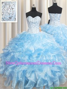 Custom Designed Sleeveless Lace Up Floor Length Beading and Ruffles Quinceanera Dresses