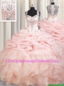 Sweet Peach Ball Gowns Organza Straps Sleeveless Beading and Ruffles and Pick Ups Zipper 15th Birthday Dress Brush Train