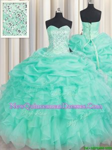 Modest Apple Green Sleeveless Beading and Ruffles and Pick Ups Floor Length Sweet 16 Dresses