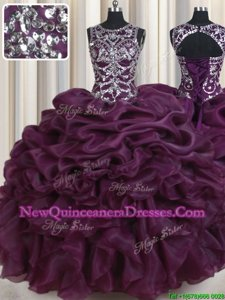 Fabulous Scoop Sleeveless Lace Up Floor Length Beading and Ruffles and Pick Ups Quince Ball Gowns