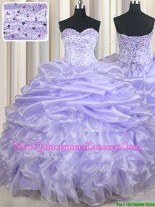 Shining Lavender Lace Up Ball Gown Prom Dress Beading and Ruffles and Pick Ups Sleeveless Floor Length