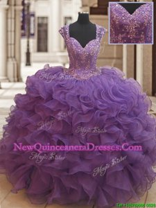 Stylish Straps Straps Eggplant Purple Organza Zipper Vestidos de Quinceanera Cap Sleeves Floor Length Beading and Ruffles