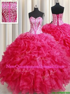 Lovely Hot Pink Sweetheart Neckline Beading and Ruffles Quinceanera Dress Sleeveless Lace Up