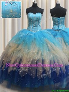 Graceful Sleeveless Lace Up Floor Length Beading and Ruffles 15th Birthday Dress