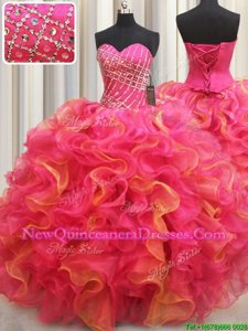Top Selling Multi-color Organza Lace Up Sweetheart Sleeveless Floor Length Quinceanera Gowns Beading and Ruffles