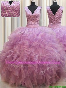 Hot Selling Floor Length Lilac Sweet 16 Quinceanera Dress Organza Sleeveless Spring and Summer and Fall and Winter Beading