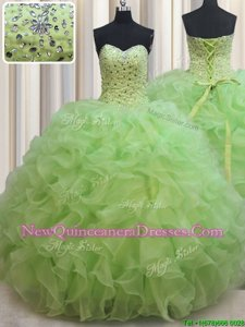 Elegant Sweetheart Sleeveless Organza Vestidos de Quinceanera Beading and Ruffles Lace Up