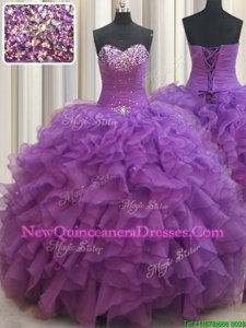 Shining Beading and Ruffles Quinceanera Dresses Eggplant Purple Lace Up Sleeveless Floor Length