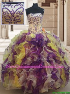 Popular Strapless Sleeveless 15 Quinceanera Dress Floor Length Beading and Ruffles Multi-color Organza