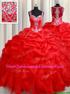 Straps Straps Red Sleeveless Organza Zipper Ball Gown Prom Dress for Military Ball and Sweet 16 and Quinceanera