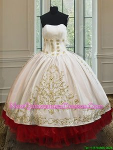 Affordable Sleeveless Lace Up Floor Length Beading and Embroidery and Ruffled Layers Quinceanera Dress