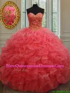 Delicate Beading and Ruffles Quinceanera Dresses Coral Red Lace Up Sleeveless Floor Length