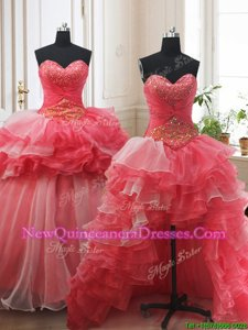 Glittering Three Piece Ruffled White and Coral Red Quince Ball Gowns Sweetheart Sleeveless Brush Train Lace Up