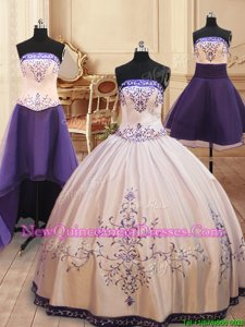 Admirable Four Piece Floor Length Zipper Quinceanera Dress White and In for Military Ball and Sweet 16 and Quinceanera withBeading and Embroidery