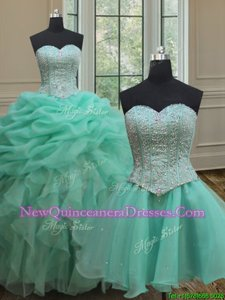 Smart Three Piece Turquoise Organza Lace Up Sweet 16 Quinceanera Dress Sleeveless Floor Length Beading and Ruffles and Pick Ups