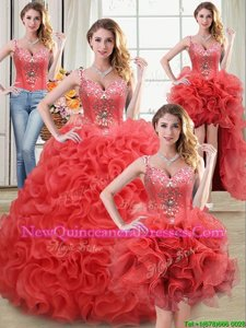Deluxe Four Piece Straps Straps Coral Red Sleeveless Floor Length Beading and Ruffles Zipper Sweet 16 Quinceanera Dress