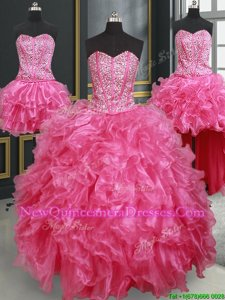 Dramatic Four Piece Hot Pink Sweetheart Lace Up Beading and Ruffles Sweet 16 Dress Sleeveless