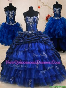 New Arrival Four Piece Royal Blue Sweetheart Neckline Beading and Ruffled Layers and Pick Ups Quince Ball Gowns Sleeveless Lace Up