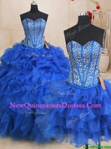 Deluxe Three Piece Royal Blue Sweetheart Neckline Beading and Ruffles Vestidos de Quinceanera Sleeveless Lace Up