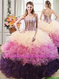 Floor Length Multi-color Sweet 16 Dress Organza Sleeveless Spring and Summer and Fall and Winter Beading and Ruffles