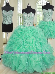 Designer Three Piece Turquoise Ball Gowns Beading and Ruffles Sweet 16 Quinceanera Dress Lace Up Organza Sleeveless Floor Length