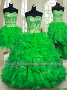 Amazing Four Piece Sleeveless Organza Floor Length Lace Up 15 Quinceanera Dress inGreen withBeading and Ruffles
