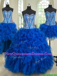 Low Price Four Piece Royal Blue Lace Up Sweetheart Beading and Ruffles Quince Ball Gowns Organza Sleeveless
