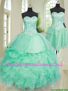 Fantastic Three Piece Turquoise Sweetheart Neckline Beading and Ruffles Ball Gown Prom Dress Sleeveless Lace Up