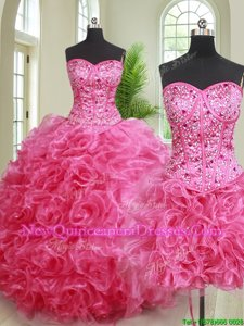 Three Piece Hot Pink Ball Gowns Beading and Ruffles Quince Ball Gowns Lace Up Organza Sleeveless Floor Length