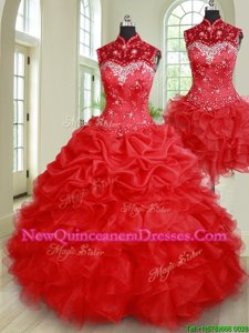 Enchanting Three Piece Floor Length Lace Up Quince Ball Gowns Red and In for Military Ball and Sweet 16 and Quinceanera withBeading and Ruffles and Pick Ups
