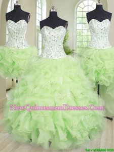 Wonderful Four Piece Yellow Green Organza Lace Up 15 Quinceanera Dress Sleeveless Floor Length Beading and Ruffles