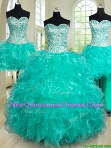 Fabulous Four Piece Turquoise Organza Lace Up Quinceanera Dress Sleeveless Floor Length Beading and Ruffles