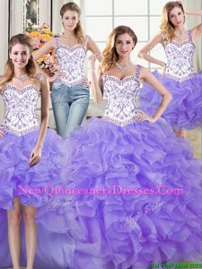 Low Price Four Piece Lavender Organza Lace Up Straps Sleeveless Floor Length Sweet 16 Dresses Beading and Lace and Ruffles