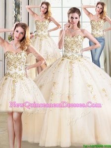 Designer Four Piece Champagne Tulle Lace Up 15 Quinceanera Dress Sleeveless Floor Length Beading