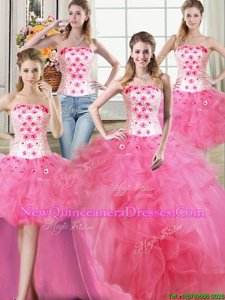 Custom Design Four Piece Floor Length Ball Gowns Sleeveless Hot Pink Sweet 16 Quinceanera Dress Lace Up