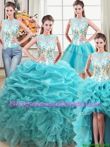 Decent Four Piece Scoop Spring and Summer and Fall and Winter Organza Sleeveless Floor Length Ball Gown Prom Dress andBeading and Ruffles