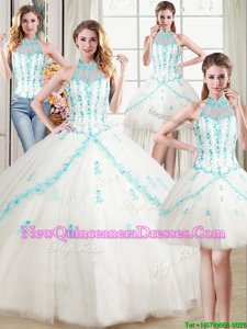 Admirable Four Piece Halter Top Beading and Appliques Sweet 16 Dresses White Lace Up Sleeveless Floor Length