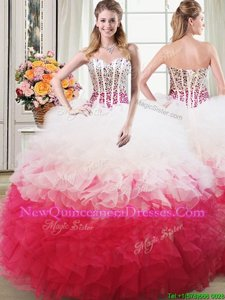 Pretty White and Red Ball Gowns Organza Sweetheart Sleeveless Beading and Ruffles Floor Length Lace Up Sweet 16 Quinceanera Dress