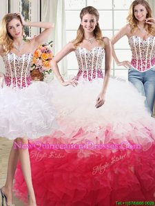 Extravagant Three Piece Floor Length White and Red Sweet 16 Dress Organza Sleeveless Spring and Summer and Fall and Winter Beading and Ruffles