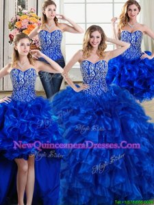 High Class Four Piece Royal Blue Sweetheart Neckline Beading and Ruffles 15th Birthday Dress Sleeveless Lace Up