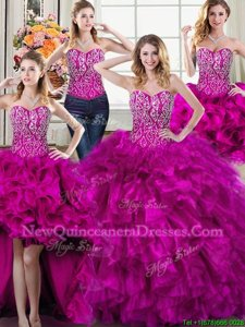 Four Piece Fuchsia Quince Ball Gowns Organza Sleeveless Spring and Summer and Fall and Winter Beading and Ruffles